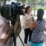 Rosy being interviewed regarding dog parks